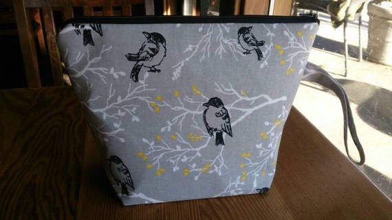 Knitting Project Bag  Birds Grey by thingsbylengleng on Etsy