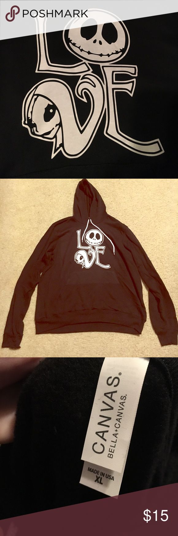 Nightmare before Christmas hoodie XL Nwot Nightmare before christmas hoodie size XL . Laying flat length 27 in x 24 1/2 in. Unofficial product. Never worn. From a smoke free home :) Other