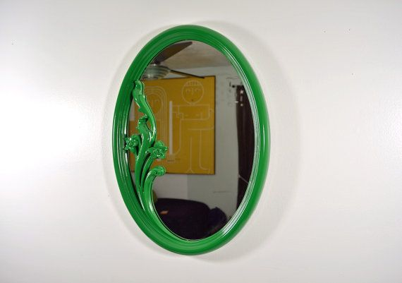 Vintage Oval Ornate Emerald Green Wall Mirror by TheVintageBirds, $58.00