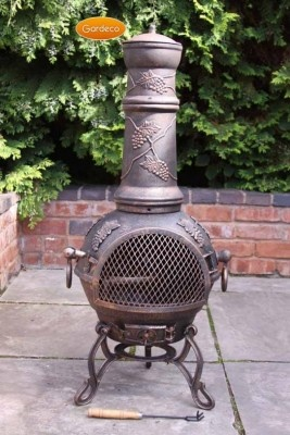 -Traditional Chiminea shape with traditional legs -100% cast iron for long life -Ideal for most size patios, gardens & holiday homes -Complete with hinged door with latch and cast iron lid - Swivel BBQ Grill -Hinged door and latch -Opening air vent & lid -Warms up fast and gives a lot of heat -Easy assembly with full instructions supplied.