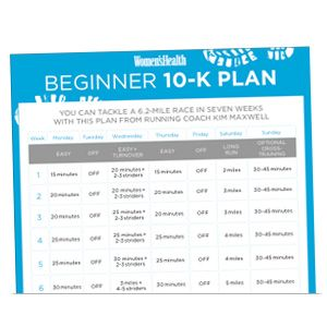 Beginner 10-K Training Plan from Women's Health | I modified this program to do my first 10K, I made it more intense and into 6 weeks but is a great foundation for beginners! I had success with it.