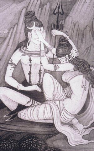 Maya veiling the two eyes of Lord Siva but the third eye penetrates reality