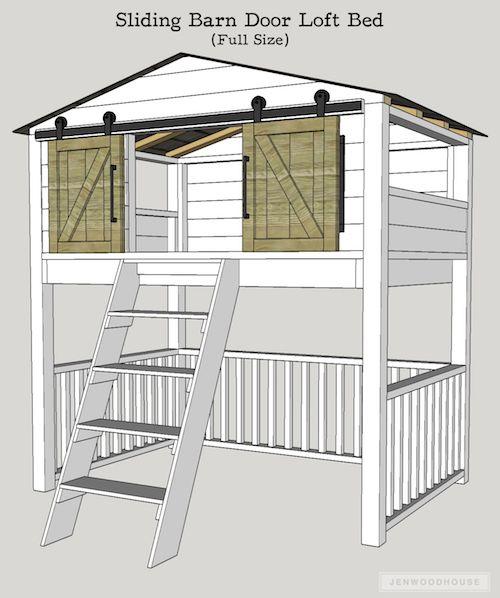 Sliding Barn Door Loft Bed | Diy sliding barn door, Home ...