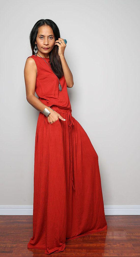 Sleeveless Maxi Dress   Rusty Red Sleeveless dress  by Nuichan, $59.00