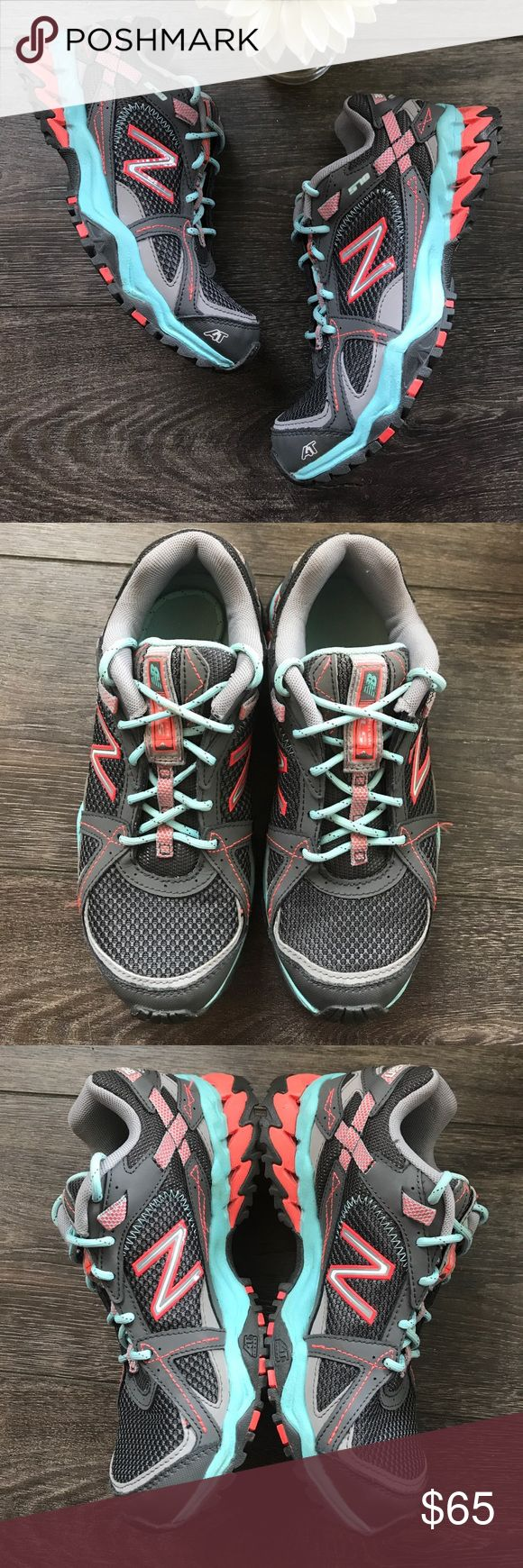 New Balance 570 All Terrain Running shoes EUC, very light wear, grey with sea foam green and neon coral New Balance Shoes Athletic Shoes