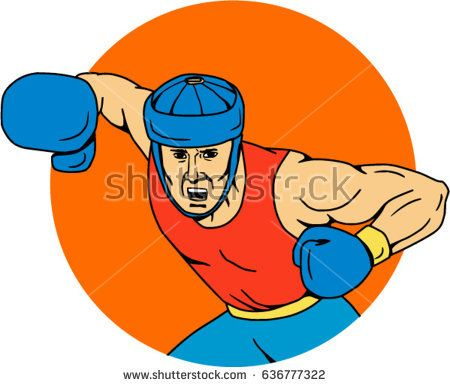 Drawing sketch style illustration of an amateur boxer wearing headgear hitting an overhead punch viewed from front set inside circle shape.   #boxer #sketch #illustration