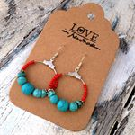 turquoise and red hoop earrings