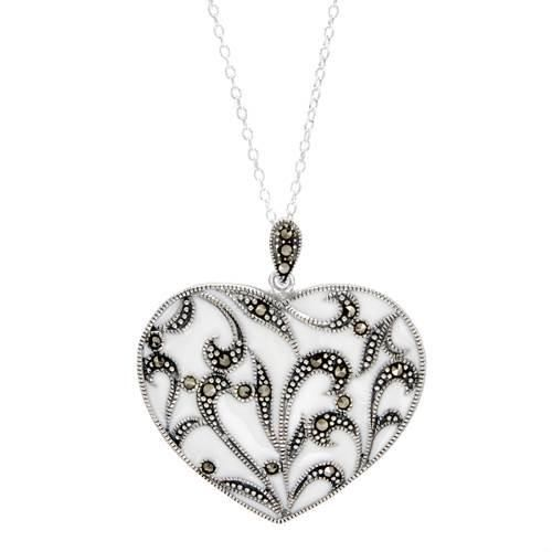 Wonderful heart necklace with genuine marcasites in white enamel and 925 sterling silver. Total item weight 7.7g. Length 18inch. http://www.perfectpag.es/?refid=31593e9f