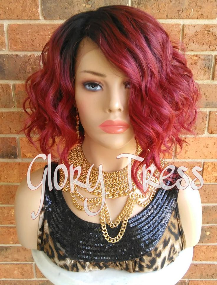 ON SALE // Short & Wavy Bob Lace Front Wig, 100% Human Hair Blend, Ombre Red Wig // DELIGHT ( Free Shipping)