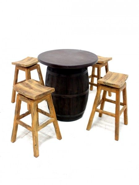 Rustic Wooden Swivel Bar Stool | Christmas - Christmas Market Theme | Event Prop Hire