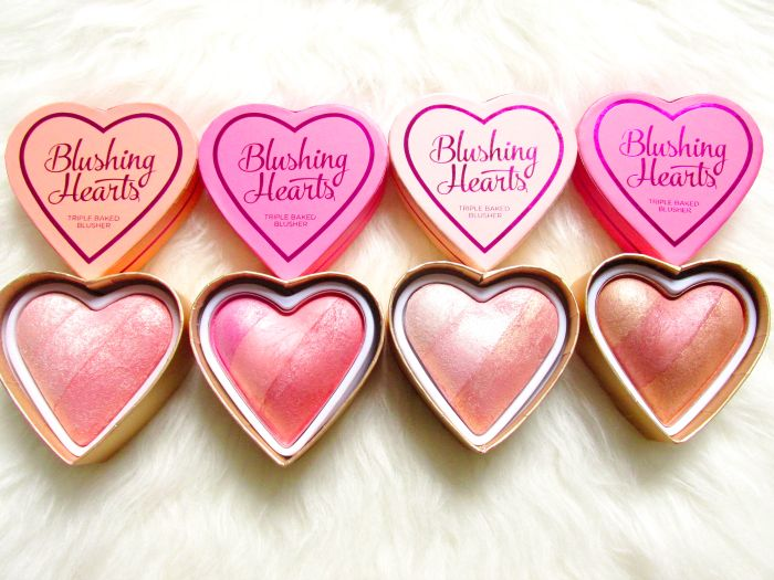 Review & Swatches: I Heart Makeup from Makeup Revolution - Blushing Hearts Triple Baked Blusher - 6.49 Euro - Peachy Pink Kisses - Candy Queen Hearts - Iced Hearts - Peachy Keen Heart / Dupes for Too Faced Sweetheart Blushes