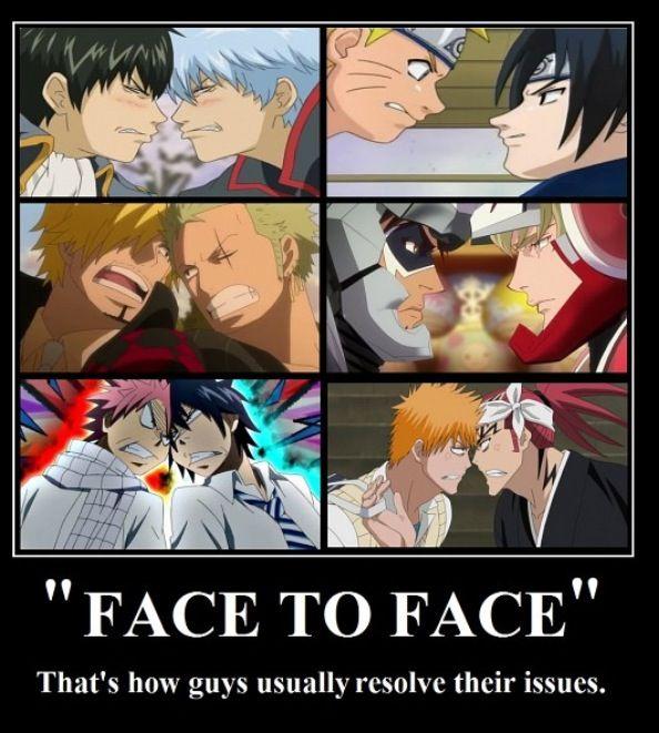 Face to Face. Naruto&Sasuke, Zoro&Renji, Natsu&Gray, Ichigo&Renji