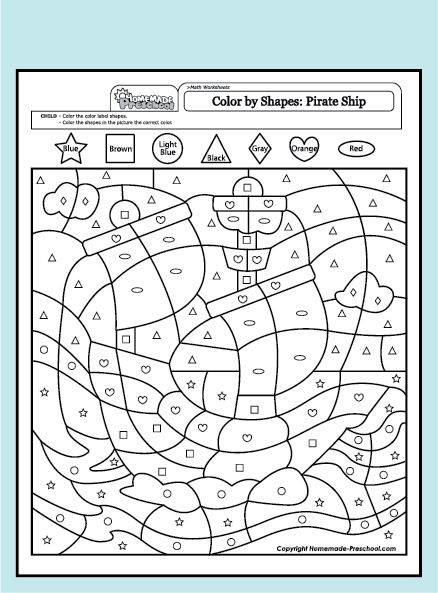 Get Pdf Colour By Shapes Numbers Shape Coloring Pages