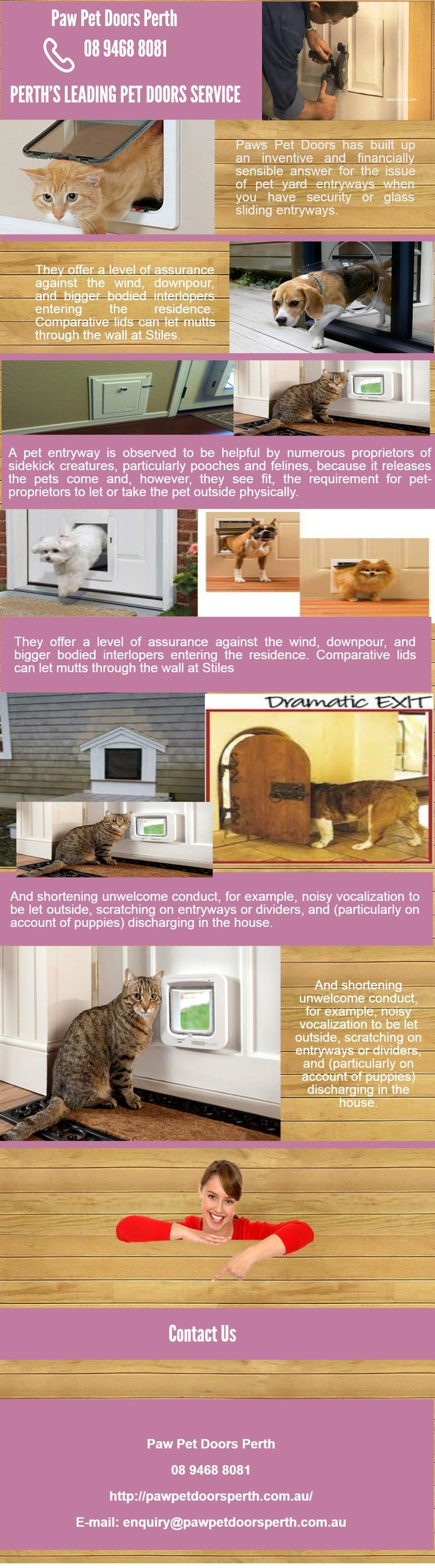 We provide Best Paw Pet Doors in Perth to protect your pet and provide comfortable home. To know more visit us 158 St Georges Terrace, PERTH WA 6000 or visit us at Call at us 894688081.