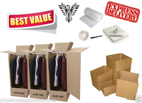 40-Box-House-Moving-Removal-Pack-5-Cardboard-Wardrobes-bubble-paper-more
