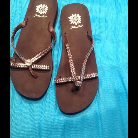Yellow Box flip flops Yellow box flip flops - bling bling - very comfortable - only wore a few times. Shoes