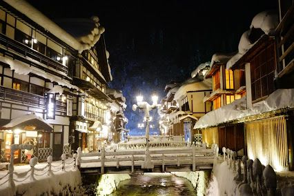 """From """" GINZAN-ONSEN """" in Yamagata, Japan. Seeing onsen ( hot spring ) town in winter season is wonderful experience in Japan."""
