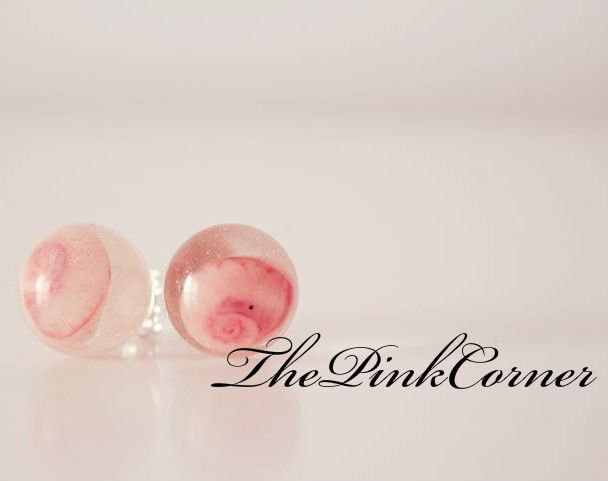 Crystal clear resin stud earrings with tiny sea shells  https://www.facebook.com/media/set/?set=a.801464386550439.1073741840.181333861896831&type=1