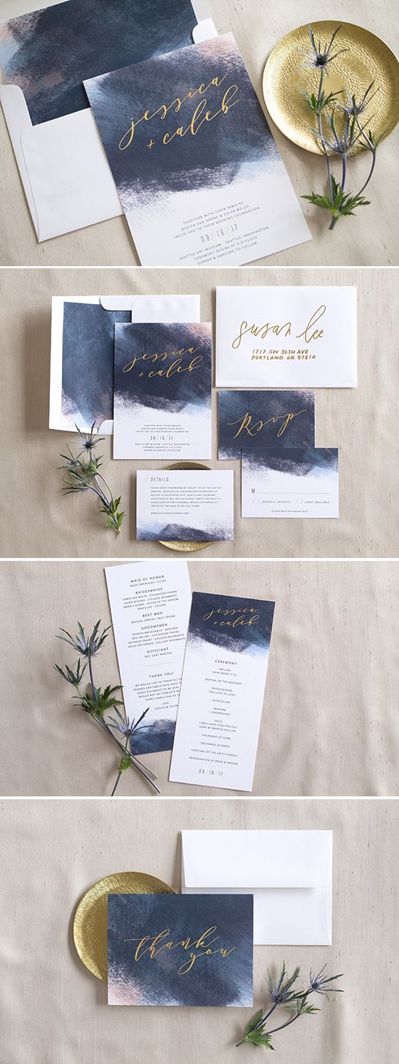 wedding invitation wording with no reception%0A Painted in Love  Modern Brushstroke Wedding Invitation Suite