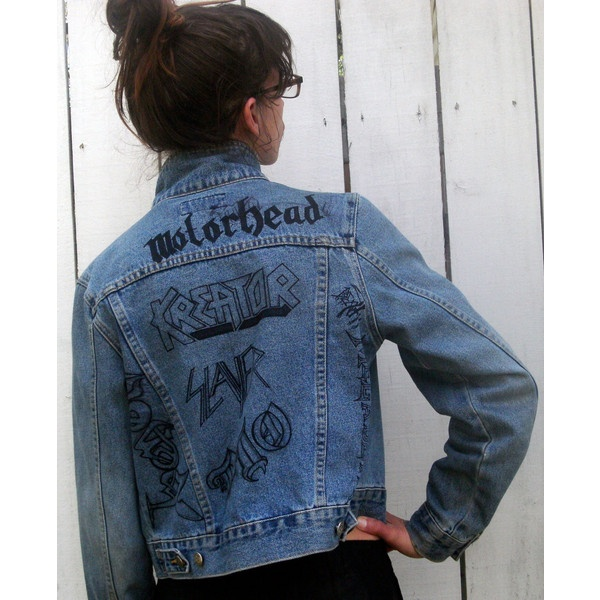 Heavy Metal Jean Jacket with hand drawn band logos Motorhead Slayer ($50) ❤ liked on Polyvore
