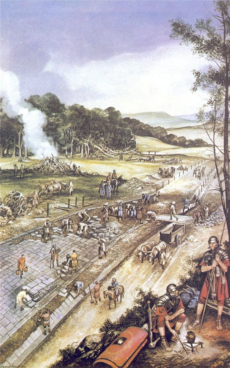Construction of a Roman road. As well as being fighting men, Roman legionaries were also engineers, surveyors and crafstmen so that a legion could be self-sufficient in the field.