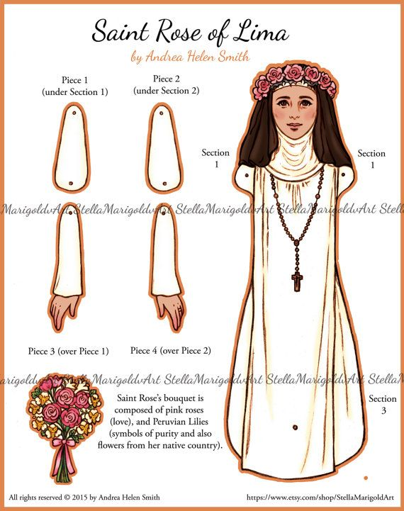 17 best images about paper doll jointed on pinterest for St rose of lima coloring page