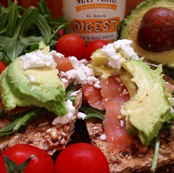 We had some fabulous fun in the kitchen making our late lunch snack (-: could get a bit messy indulging in this one! Ryvita with Mayver's Digest Seed Spread topped with fresh rocket, smoked salmon, avocado and some feta....super yum! #mayvers #purestate #sugarfree #seeds #soyummy #happiness