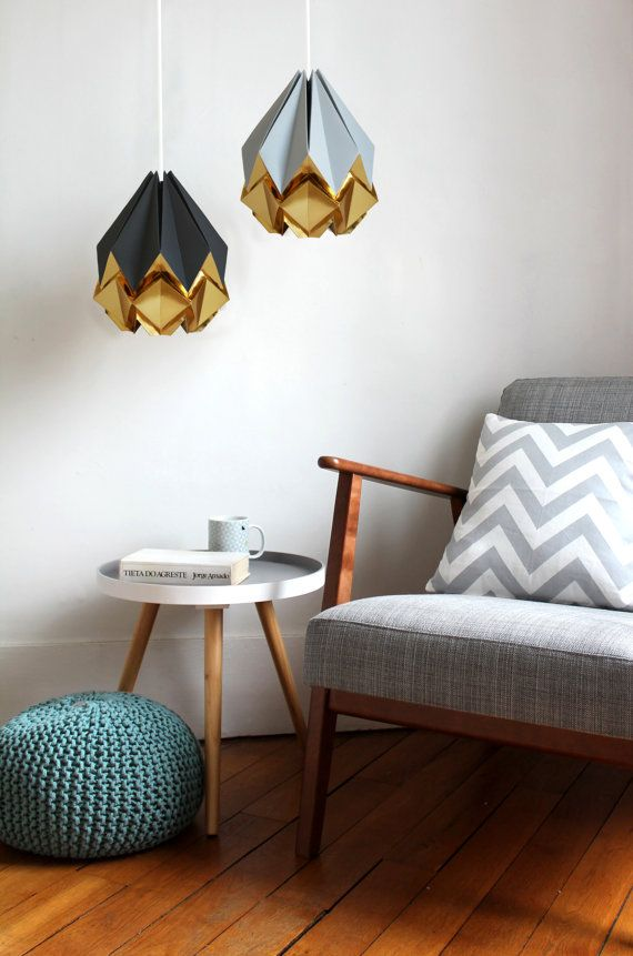 Pitch black and gold origami lamp   elegant and original handmade pendant light shade perfect for your living room, bedroom or dining room