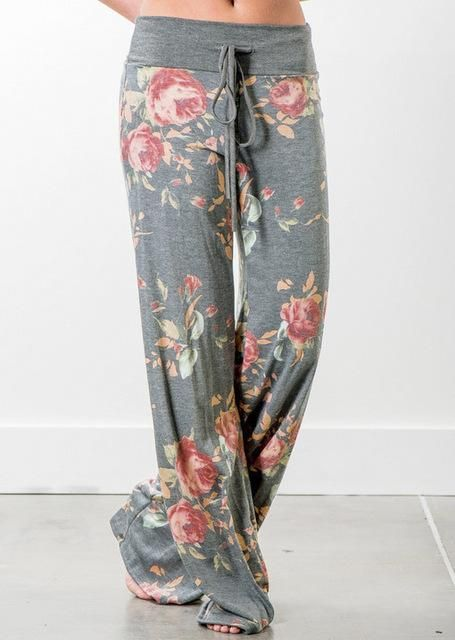 Facile, Easy Wide Leg Floral Long Trousers with Stretch Waist in So Many Expressions!