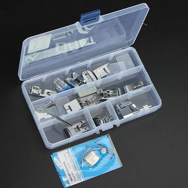 15 Pcs Sewing Machine Kit Foot Feet Accessory Set For Janome Toyota. 15 Pcs Sewing Machine Kit Foot Feet Accessory Set For Janome Toyota  Feature:  Material: Metal & Plastic Total length: (Box)17.5 x 10 x 2.2 cm / 6.89 x 3.94 x 0.86 inch Suitable for domestic sewing machine Fits most sewing machines such as Singer, Brother, Babylock, Viking (Husky Series), Euro-pro, Janome, Kenmore, White, Juki, Bernina (Bernette Series), New Home, Necchi, Elna, Husqvarna Viking, Toyota and other sewing…