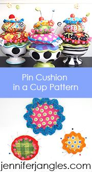 pin cushion in a cup
