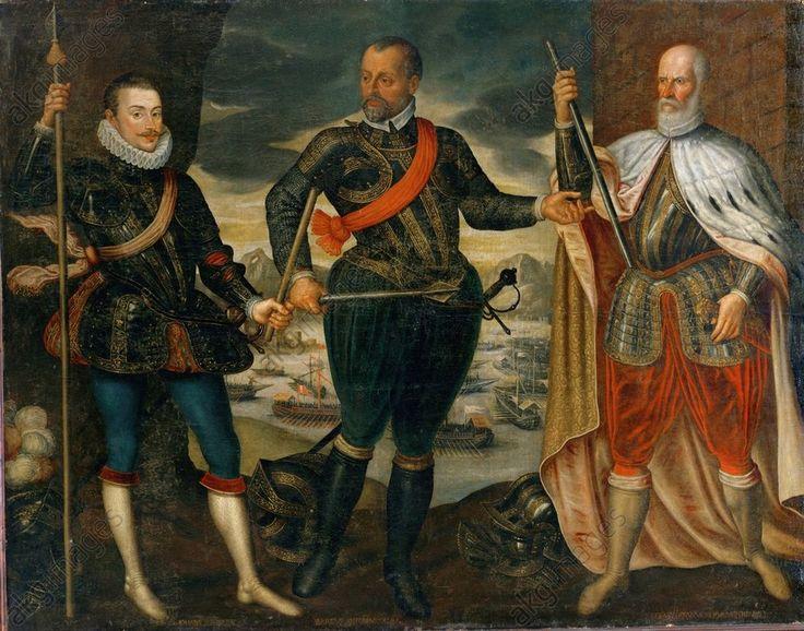 Sea battle of Lepanto, 7 October 1571. (Victory of the Venetian, Spanish and papal fleets over the Turks). The three commanders, from left Don Juan de Austria (1547–78), Marc Antonio Colonna (1536–1584) and Sebastiano Venier (died 1578), Colonna u.Venier