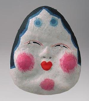 painted papier mache otafuku mask.