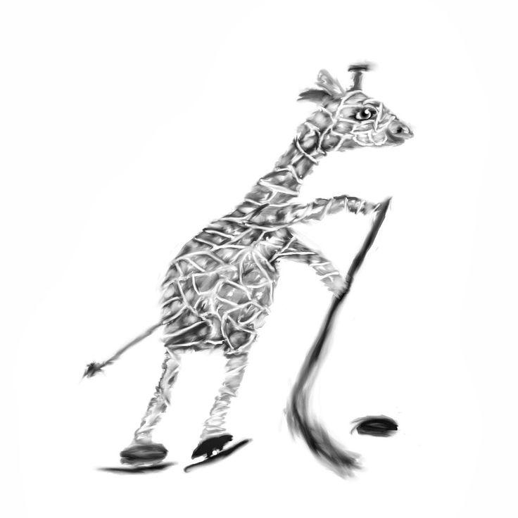 Giraffe playing ice hockey