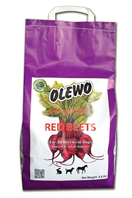Olewo Red Beets Allergy Dog Food Supplement, controls dog skin allergies and itching with natural detoxification and anti-inflammatory support, adds natural source vitamins to any dog food to promote overall health, 1-ingredient, non-GMO product, Made in Germany, 5.5 Pounds