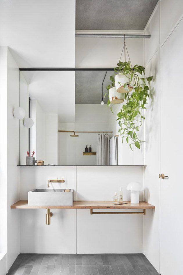 Scandinavian Bathroom With Vessel Sink And Floating Vanity In 2020 Minimalist Bathroom Design Bathroom Interior Design Minimalist Bathroom