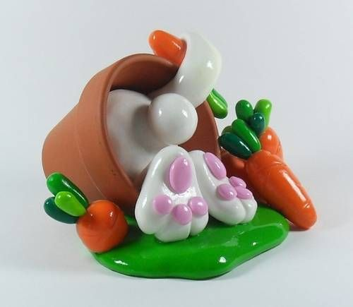 Fimo easter | FIMO easter bunny - POTTERY, CERAMICS, POLYMER CLAY