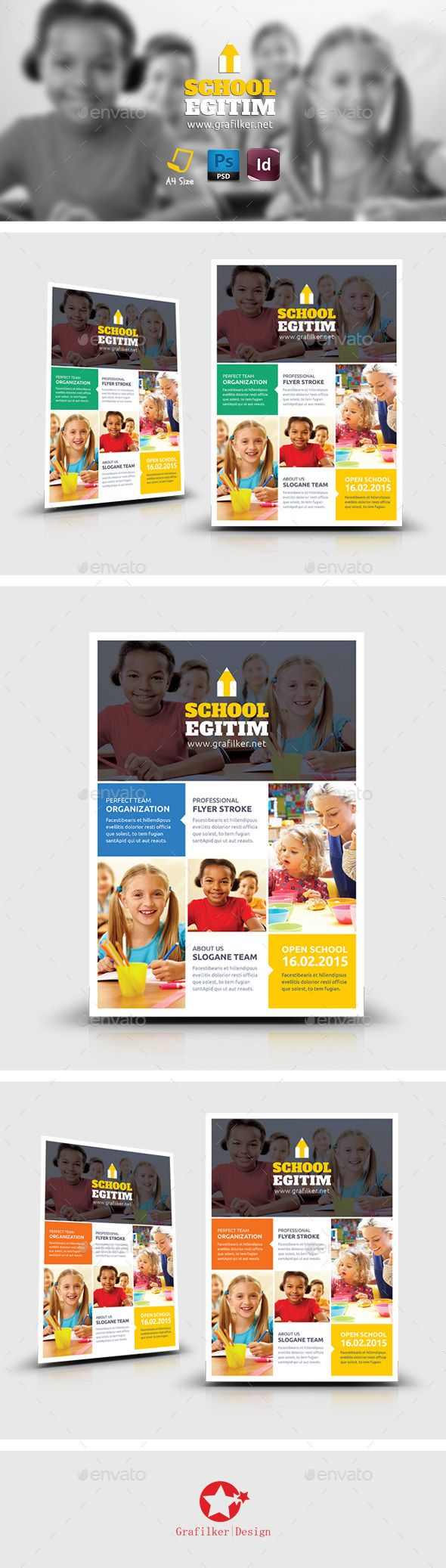 Kids School Flyer Template PSD | Buy and Download: http://graphicriver.net/item/kids-school-flyer-templates/8861162?WT.ac=category_thumb&WT.z_author=grafilker02&ref=ksioks