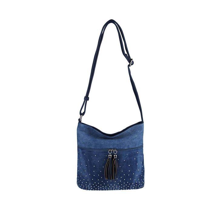 OBC LADIES JEANS BAG Crossbody Bag Rivets City Bag CrossOver Women's Bag Rhinestones Top Handle Shoulder Bag Crossbody Bag Glitter Dark Blue