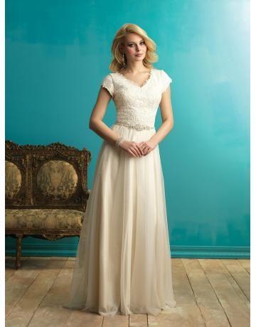Allure A-linie Dramatische Elegante Brautkleider aus Softnetz mit Applikation