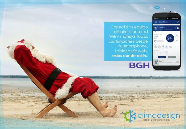 BGH presenta #SmartControl, manejá tu aire acondicionado estés donde estés desde una red #wifi. Conseguilo en www.climadesign.com.ar #navidad #clima #aireacondicionado