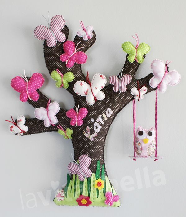 TREE WITH BUTTERFLIES, made of fabric