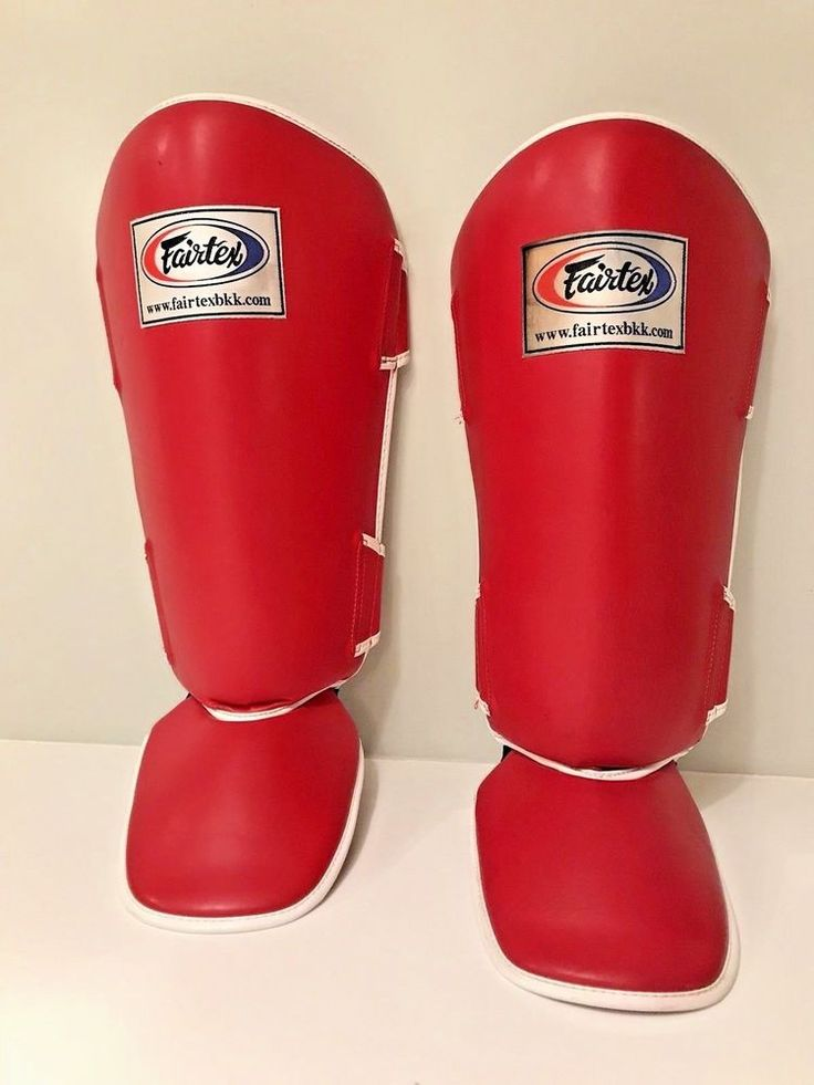 FAIRTEX SIZE LARGE RED SHIN GUARDS HIGH IMPACT FOAM MUAY THAI KICKBOXING DURABLE #Fairtex
