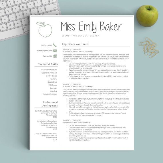 Teacher Resume Template for Word and Pages: The Apple - Instant Download Resume Template - US Letter and A4 CV Templates included - Mac & PC Compatible using Microsoft Word and Mac Pages - COMPLETELY CUSTOMIZABLE templates: Change fonts, colors, headings, or add/delete sections