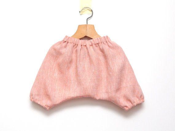 Baby linen harem shorts Coral pink harem pants by ZanziBach
