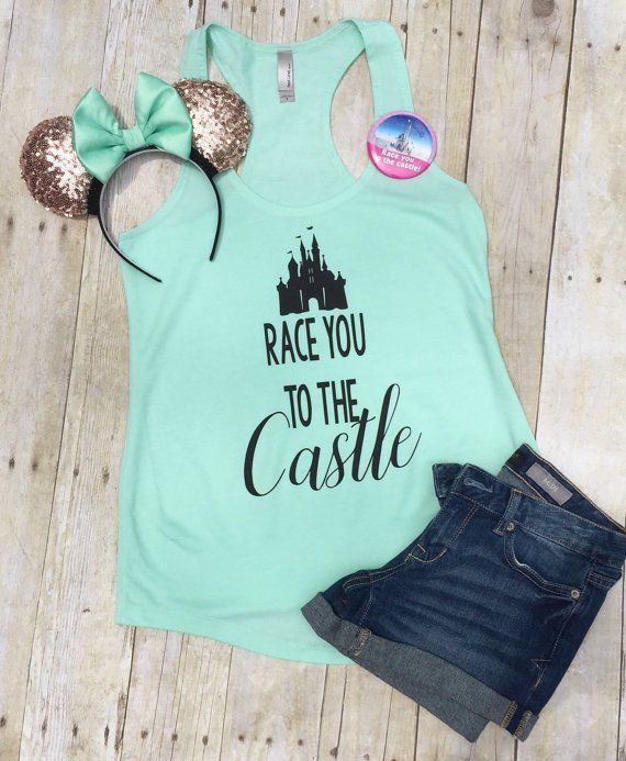 "Thank you for stopping by my shop! I am excited to have you here! Disney Addicts this top is for you!! My ""Race you to the castle"" is perfect for your Disney vacation! ***This listing is for the tank"