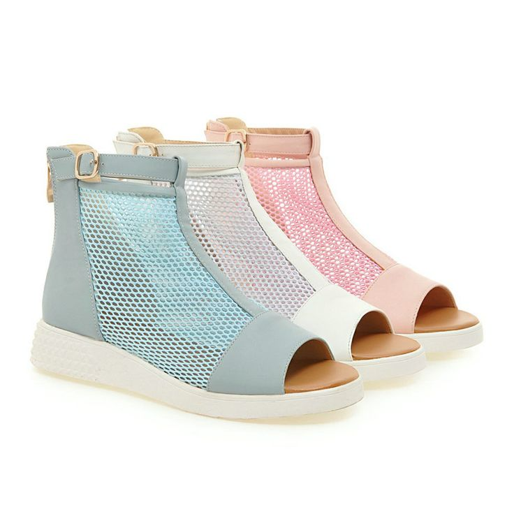VALLKIN Size 34-39 Pink Wedge Low Heel Woman Pumps Zipper Platform Lady Summer Net  Shoes PU Ladies open toe fashion casual Shoe