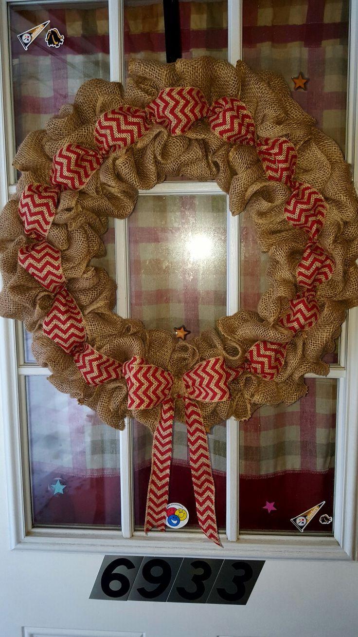 Burlap wreath with chevron ribbon 11 best