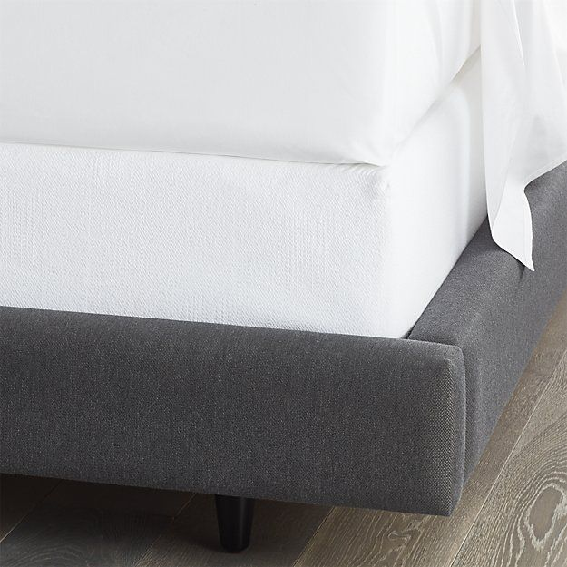 Another less expensive frame option.  Can either make a headboard with a DIY project or just use pillows to create illusion of one:  Matelassé Box Spring Cover   Crate and Barrel