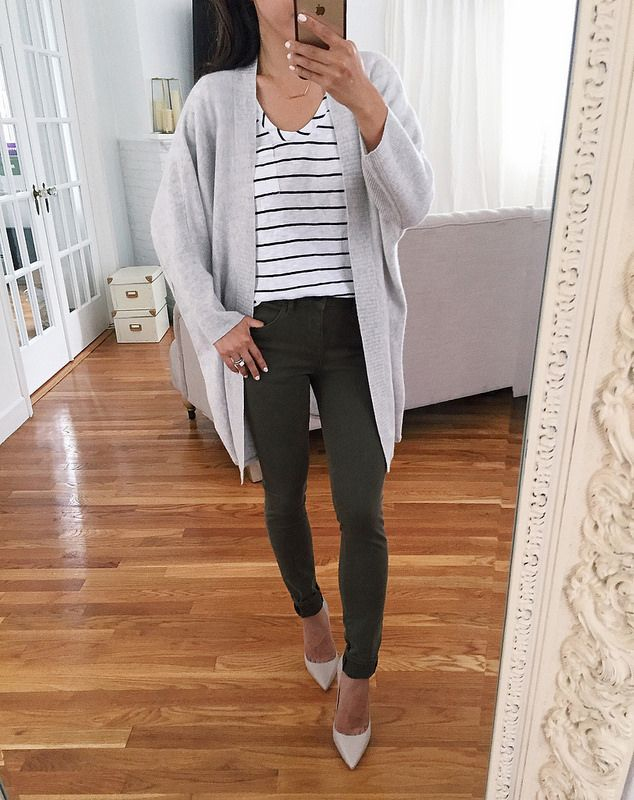 cashmere circle cardigan + striped tee + olive skinny jeans // nordstrom sale reviews